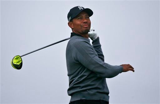 Tiger Woods hits an errant drive on the second hole during the pro-am at the Farmer Insurance Open golf tournament at Torrey Pines, Wednesday, Feb. 4, 2015, in San Diego.