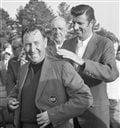 In this April 14, 1970, file photo, Billy Casper, left, is helped into the Masters jacket by 1969 Masters champion George Archer after Casper won the Masters title in Augusta, Ga. Casper, a prolific winner on the PGA Tour whose career was never fully appr