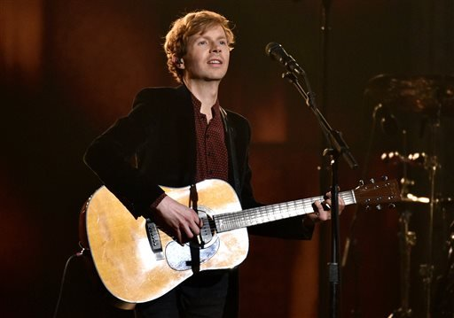 Beck performs at the 57th annual Grammy Awards on Sunday, Feb. 8, 2015, in Los Angeles. (Photo by John Shearer/Invision/AP)