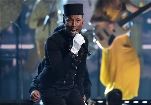 Pharrell Williams performs at the 57th annual Grammy Awards on Sunday, Feb. 8, 2015, in Los Angeles. (Photo by John Shearer/Invision/AP)