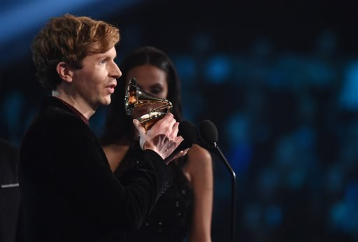 "Beck accepts the award for best rock album for ""Morning Phase"" at the 57th annual Grammy Awards on Sunday, Feb. 8, 2015, in Los Angeles. (Photo by John Shearer/Invision/AP)"