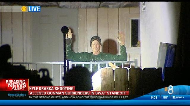 Following a standoff at an El Cajon residence, Mike Montana, the man suspected of shooting CBS News 8's Sports Director Kyle Kraska, surrendered with his hands up to SWAT officers just before 10 p.m. Tuesday, February 10, 2015.