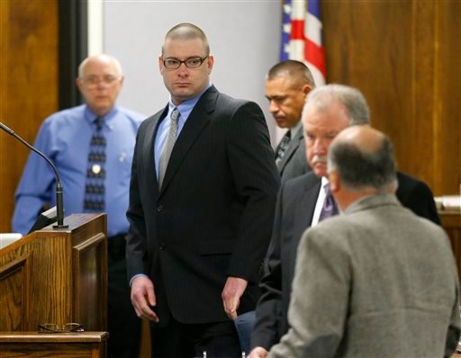 Former Marine Cpl. Eddie Ray Routh, center, appears in court on the opening day of his capital murder trial at the Erath County Donald R. Jones Justice Center, Wednesday, Feb. 11, 2015, in Stephenville, Texas.