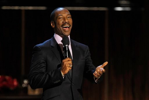 "In this Nov. 3, 2012 file photo, Eddie Murphy addresses the audience at the close of ""Eddie Murphy: One Night Only,"" a celebration of Murphy's career in Beverly Hills, Calif. Murphy is on a different chart these days, with his latest single ""Oh Jah Jah,"""