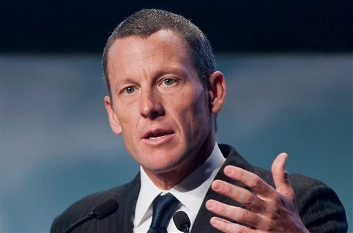 FILE - In this Aug. 29, 2012 file photo, Lance Armstrong speaks to delegates at the World Cancer Congress in Montreal. (AP Photo/The Canadian Press, Graham Hughes, File)