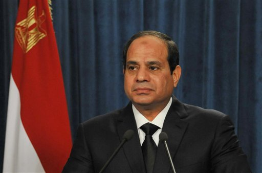 In this image released by the Egyptian Presidency in the early hours of Monday, Feb. 16, 2015, President Abdel-Fattah el-Sissi makes a statement after militants in Libya affiliated with the Islamic State group released a grisly video showing the beheading
