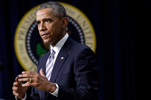 President Barack Obama speaks at the White House Summit on Countering Violent Extremism, Wednesday, Feb. 18, 2015, in the South Court Auditorium of the Eisenhower Executive Office Building on the White House Complex in Washington. (AP Photo)