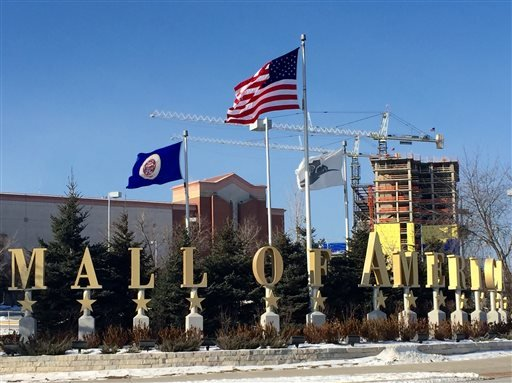 A Sunday, Feb. 22, 2015 photo shows the exterior of the Mall of America in Bloomington, Minn. A video released late Saturday, Feb. 21, 2015, purported to be by Somalia's al-Qaida-linked rebels, urges Muslims to attack shopping malls in North America, Brit