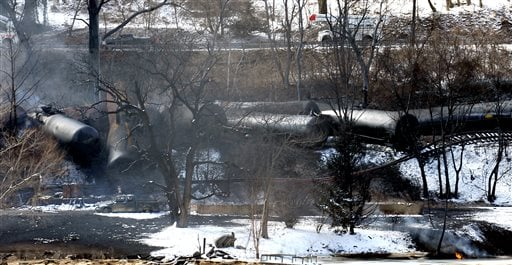 This Feb. 17, 2015 file photo, shows a train derailment that sent a tanker with crude oil into the Kanawha River near Mount Carbon, W.Va. As investigators in West Virginia and Ontario pick through the wreckage from the latest pair of oil train derailments