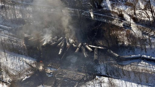 This aerial Feb. 17, 2015 file photo photo made available by the Office of the Governor of West Virginia shows a derailed train in Mount Carbon, WVa. As investigators in West Virginia and Ontario pick through the wreckage from the latest pair of oil train