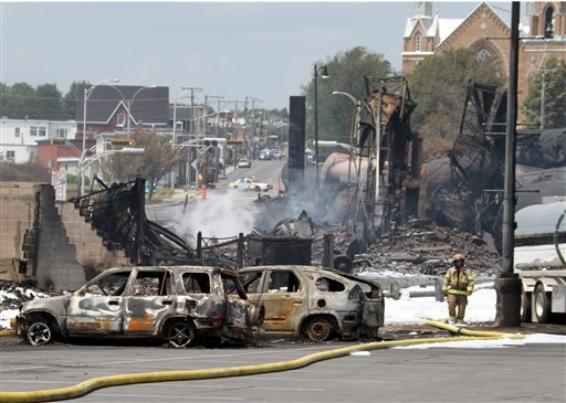 This July 8, 2013 file photo provided by Surete du Quebec, shows wrecked oil tankers and debris from a runaway train in Lac-Megantic, Quebec, Canada. As investigators in West Virginia and Ontario pick through the wreckage from the latest pair of oil train