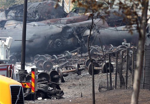 This July 8, 2013 file photo provided by Surete du Quebec, shows debris from a runaway train in Lac-Megantic, Quebec, Canada. As investigators in West Virginia and Ontario pick through the wreckage from the latest pair of oil train derailments to result i