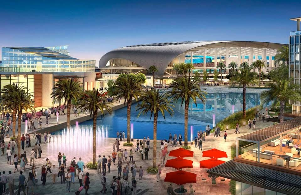 A rendering of the planned sports and entertainment complex, including an NFL stadium, in Inglewood, Calif.