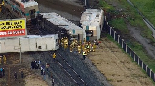 This image from video provided by KABC-TV Los Angeles shows wreckage of a Metrolink commuter train after it crashed into a truck and derailed early on Tuesday, Feb. 24, 2015 in Oxnard, Calif. (AP)