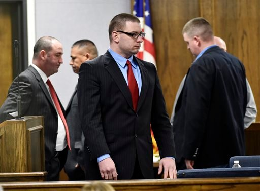 Former Marine Cpl. Eddie Ray Routh stands during his capital murder trial at the Erath County, Donald R. Jones Justice Center in Stephenville Texas Feb. 24, 2015. (AP Photo/The Dallas Morning News, Michael Ainsworth, Pool)