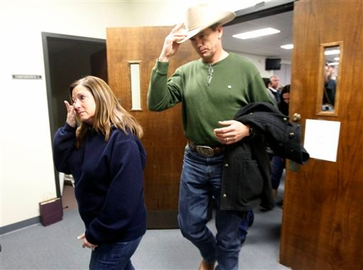 Jay Novacek and other supporters of the Kyle family leave after the capital murder trial of former Marine Cpl. Eddie Ray Routh Feb. 24, 2015. (AP Photo/The Dallas Morning News, Michael Ainsworth, Pool)