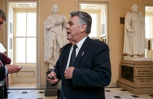 In this Feb. 27, 2015, photo, Rep. Peter King, R-N.Y., stands outside the House chamber holds a procedural votes on a spending bill for the Homeland Security Department at the Capitol in Washington, Friday, Feb. 27, 2015. Democrats didn't get all they wan
