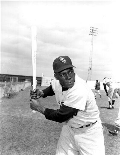 "In a March 9, 1957 file photo, Chicago White Sox outfielder Orestes ""Minnie"" Minoso poses in batting position at Al Lopez Field in Tampa, Fla. Major league baseball's first black player in Chicago, Minnie Minoso, has died. The Cook County medical examine"