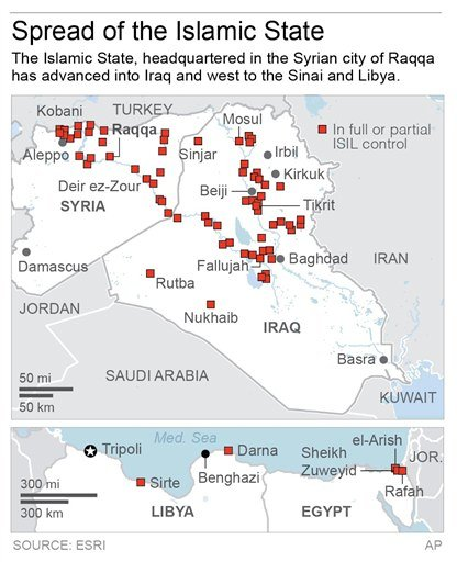 ISLAMIC STATE 022815: Map shows the spread of the Islamic State; 2c x 4 inches; with any related stories; ETA 3 p.m. ; 2c x 4 inches; 96.3 mm x 101 mm;