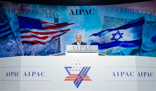 Israeli Prime Minister Benjamin Netanyahu speaks at the American Israel Public Affairs Committee (AIPAC) Policy Conference in Washington, Monday, March 2, 2015. (AP Photo/Pablo Martinez Monsivais)