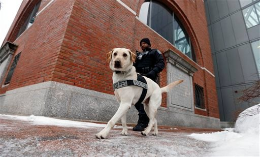 A police officer and his dog patrol outside federal court, Wednesday, March 4, 2015, in Boston, on the first day of the federal death penalty trial of Boston Marathon bombing suspect Dzhokhar Tsarnaev. (AP Photo/Michael Dwyer)