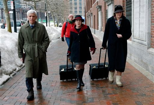 Members of the legal defense team for Boston Marathon bombing suspect Dzhokhar Tsarnaev, including David Bruck, left, Miriam Conrad, center, and Judy Clarke, right, arrive at federal court March 4, 2015, in Boston. (AP Photo/Michael Dwyer)