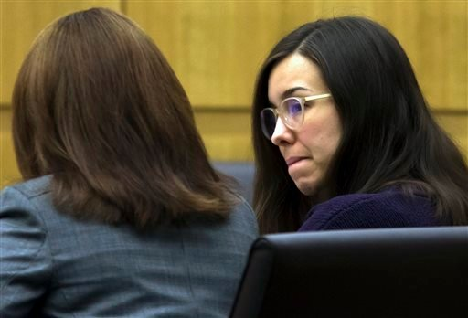 Feb. 5, 2015, file photo: Jodi Arias sits with her defense attorney Jennifer Willmott during the sentencing phase of her retrial at Maricopa County Superior Court in Phoenix. (AP Photo/The Arizona Republic, Mark Henle, Pool, File)