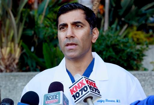 Dr. Sanjay Khurana talks to reporters, at his office in Marina Del Rey, Calif., on Friday, March 6, 2015, about how he saw actor Harrison Ford's plane falling from the sky while on a golf course on Thursday. (AP)