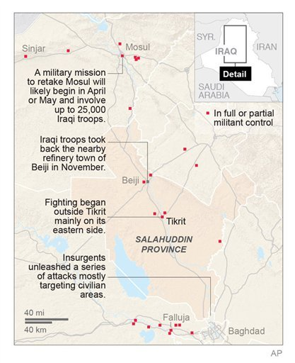 Iraq launches operation to retake Tikrit. Map shows the area of the attack
