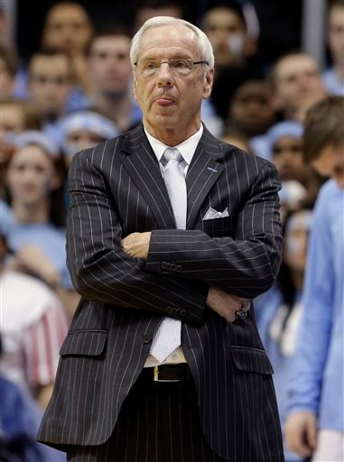 North Carolina coach Roy Williams watches late in the second half of an NCAA college basketball game against Duke, Saturday, March 7, 2015, in Chapel Hill, N.C. Duke won 84-77. (AP Photo/Gerry Broome)