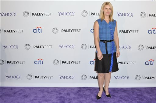 "Claire Danes arrives at the 32nd Annual Paleyfest Opening Night Presentation: ""Homeland"" held at the The Dolby Theatre on Friday, March 6, 2015, in Los Angeles. (Photo by Richard Shotwell/Invision/AP)"