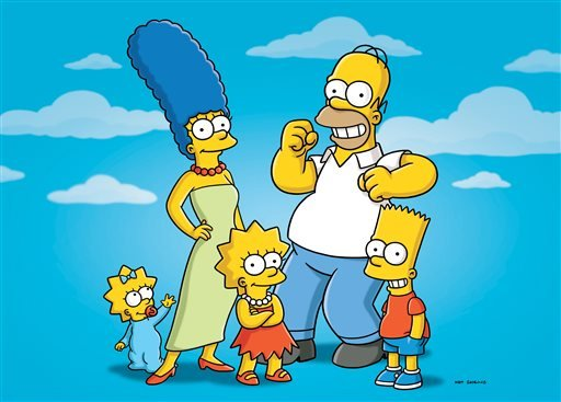 "In this undated publicity photo released by Fox, characters from the animated series, ""The Simpsons,"" from left, Maggie, Marge, Lisa, Homer and Bart, are shown."