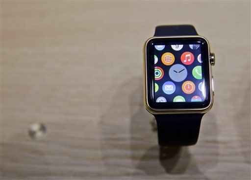 A variety of the Apple Watch is on display in the demo room after an Apple event on Monday, March 9, 2015, in San Francisco.