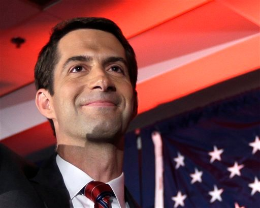 In this Nov. 4, 2014 file photo, then-Sen.-elect Tom Cotton, R-Ark. waves at his election watch party in North Little Rock, Ark., after defeating incumbent Sen. Mark Pryor. Forty-seven Republican senators warned Monday that any agreement the Obama adminis