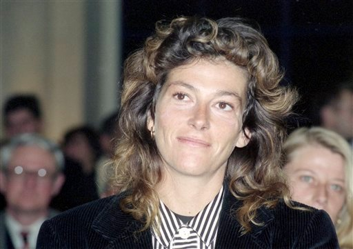 This Dec. 14, 1990 shows French sailor Florence Arthaud during a presentation in Paris. Two helicopters carrying French sports stars filming a popular European reality show crashed Monday March 9, 2015 in a remote part of Argentina, killing10 people, incl