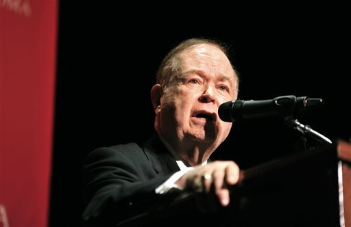 University of Oklahoma President David Boren speaks during a news conference, addressing racism on campus on Monday, March. 9, 2015 in Norman, Okla. Boren lambasted members of Sigma Alpha Epsilon, a fraternity who participated in a racist chant caught on