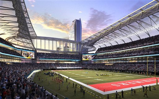 In this undated image provided by AEG, the proposed NFL stadium to be named Farmers Field in Los Angeles is shown in an artist's rendering.