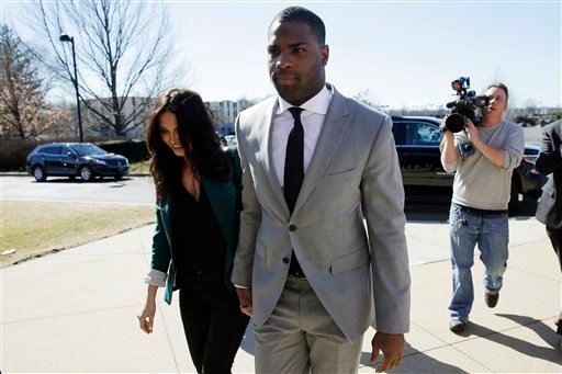 Running back DeMarco Murray arrives with his fiance Heidi Mueller at the Philadelphia Eagles' NFL football practice facility, Thursday, March 12, 2015, in Philadelphia.