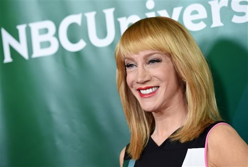 "In this Thursday, Jan. 15, 2015, file photo, Kathy Griffin of the E! show ""Fashion Police"" poses at the NBCUniversal Cable 2015 Winter TCA Press Tour at The Langham Huntington Hotel, in Pasadena, Calif."