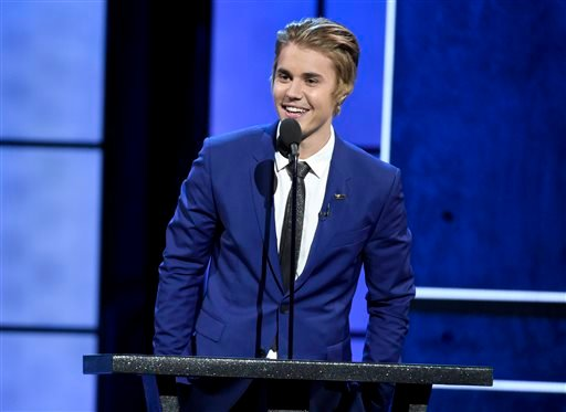 Justin Bieber speaks at the Comedy Central Roast of Justin Bieber at Sony Pictures Studios on Saturday, March 14, 2015, in Culver City, Calif.