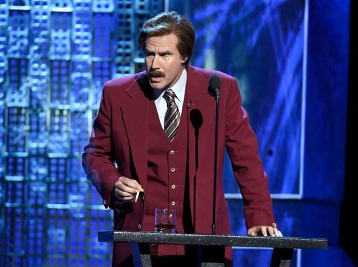 "Will Ferrell speaks in character as Ron Burgundy from ""The Anchorman"" films at the Comedy Central Roast of Justin Bieber."
