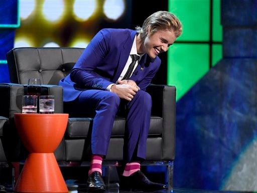 Justin Bieber reacts on stage at the Comedy Central Roast of Justin Bieber at Sony Pictures Studios on Saturday, March 14, 2015, in Culver City, Calif.