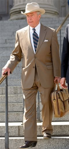 Robert A. Durst's attorney Dick DeGuerin leaves Orleans Parish Criminal District Court in New Orleans, La. Monday, March 16, 2015, after a hearing for Durst's extradition to Los Angeles to face a 15-year-old murder charge. Durst is charged in the shooting
