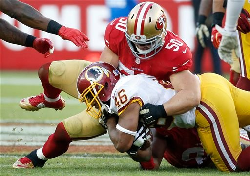 In this Sunday, Nov. 23, 2014, file photo, San Francisco 49ers inside linebacker Chris Borland (50) tackles Washington Redskins running back Alfred Morris (46) during the second half of an NFL football game in Santa Clara, Calif.