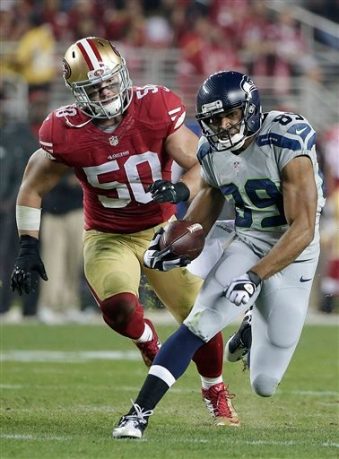 In this Thursday, Nov. 27, 2014, file photo, Seattle Seahawks wide receiver Doug Baldwin (89) runs from San Francisco 49ers inside linebacker Chris Borland (50) during the first quarter of an NFL football game