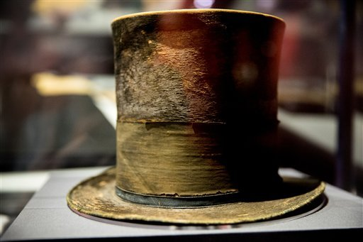 """President Abraham Lincoln's top hat from the night of his assassination is on display at a new exhibit entitled """"Silent Witnesses: Artifacts of the Lincoln Assassination."""" (AP)"""