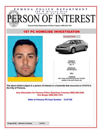 This Internet 'person of interest' message posted online by the Pomona, Calif., Police Department shows Henry Solis. Solis, 27, a rookie Los Angeles police officer. (AP Photo/Pomona Police Department)