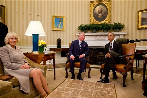 President Barack Obama meets with Britain's Prince Charles and his wife Camilla, the Duchess of Cornwall, Thursday, March 19, 2015, in the Oval Office of the White House in Washington. (AP Photo/Jacquelyn Martin)