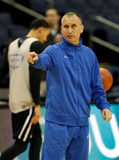 Buffalo coach Bobby Hurley gestures during practice for an NCAA college basketball tournament second round game in Columbus, Ohio, Thursday, March 19, 2015. Buffalo plays West Virginia on Friday. (AP Photo/Paul Vernon)