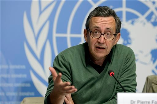 In this Friday, Nov. 7, 2014 file photo, Pierre Formenty, a World Health Organization (WHO) technical officer who specializes in Ebola, speaks during a press conference at the European headquarters of the United Nations in Geneva, Switzerland, describing